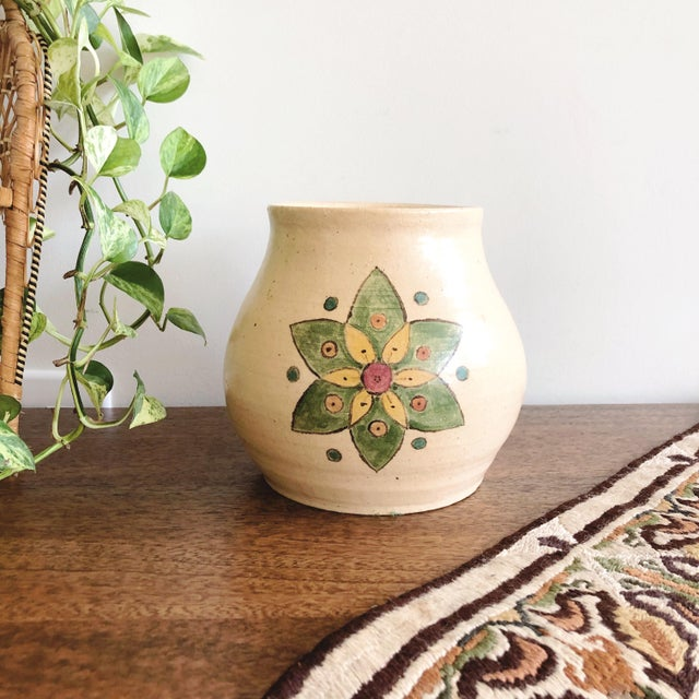 "Vintage 1950s Scandinavian hand-painted and hand-thrown ceramic vase. Signed ""Chris"" on the base."