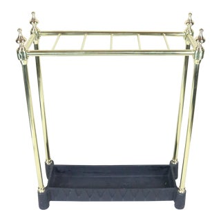 English Polished Brass Umbrella Stand For Sale