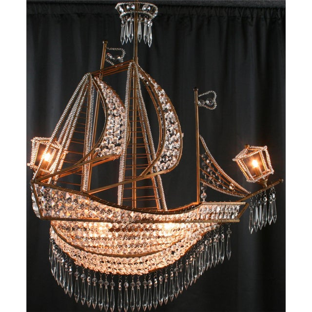 New Large Sailing Ship Crystal Chandelier For Sale - Image 6 of 12