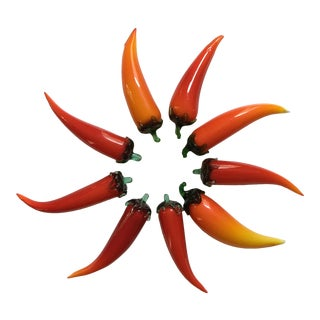 1960s Figurative Blown Art Glass Hot Peppers - Set of 9