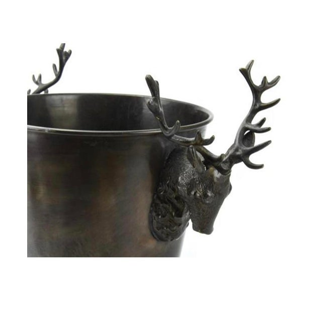 """Stag Horn / Deer Head Motif Wine Bucket / Champagne Bucket in bronze finish Purchased at auction 12""""H , 9.25"""" diameter."""