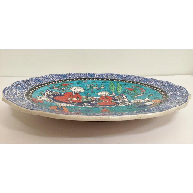 Large Turkish Ottoman Scene Polychrome Hand Painted Ceramic Plate Kutahya For Sale In Los Angeles - Image 6 of 13