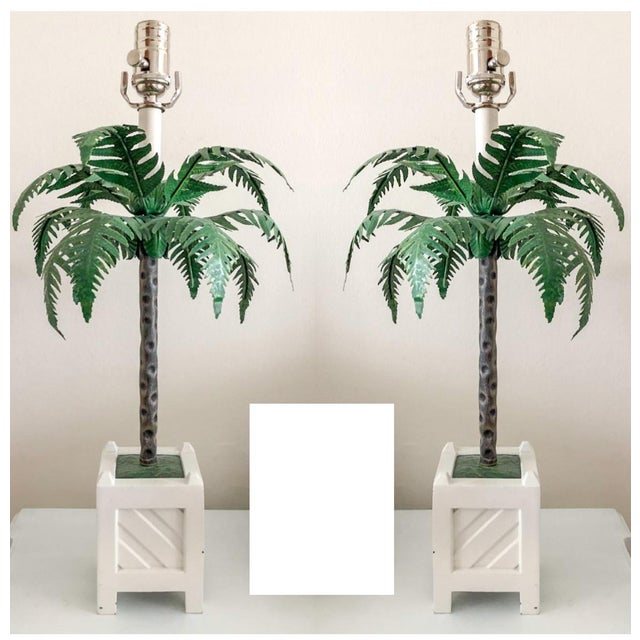 Metal Maison Bagues Tole Lamps, Pair For Sale - Image 7 of 7