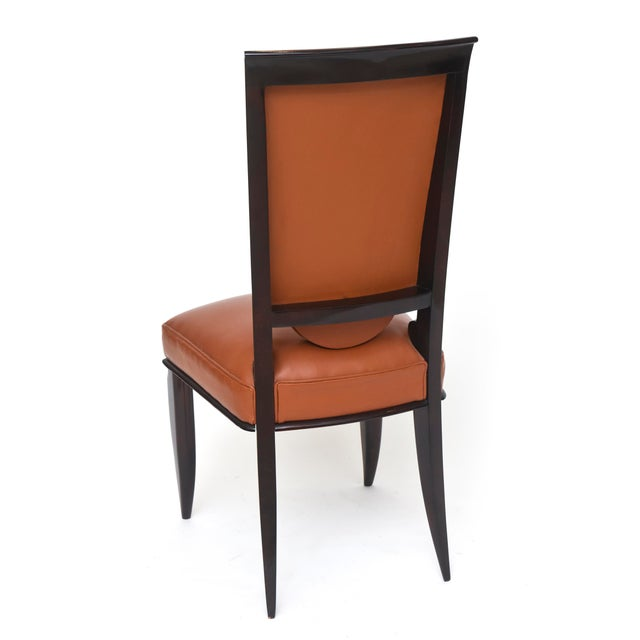 1940s Fine Set of Eight Late Art Deco Ebony De Macassar Dining Chairs, Jules Leleu For Sale - Image 5 of 10