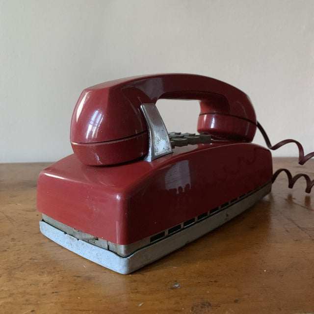 Ruby Red Vintage Red Push Button Telephone For Sale - Image 8 of 11