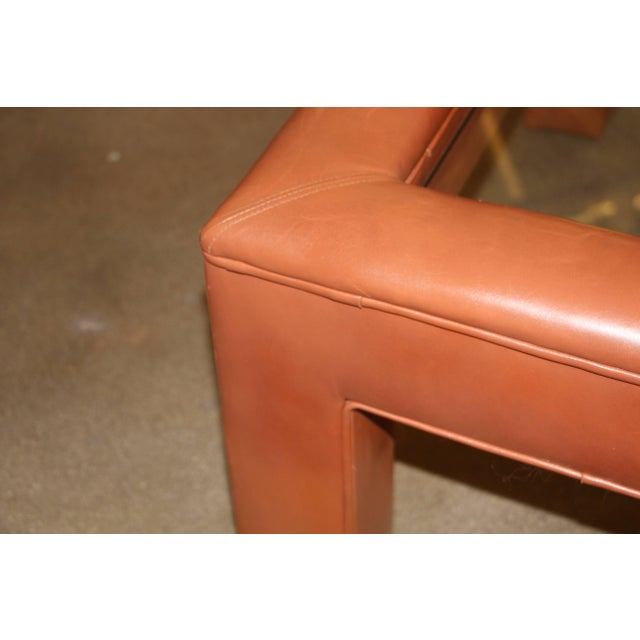 Mid 20th Century Leather Wrapped Coffee Table With Glass Insert For Sale - Image 5 of 10