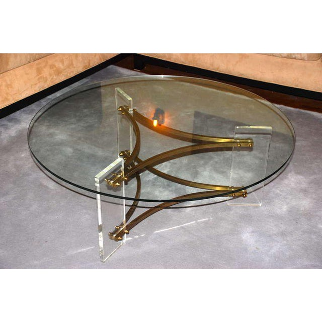 Charles Hollis Jones Brass and Lucite Coffee Table For Sale - Image 10 of 10