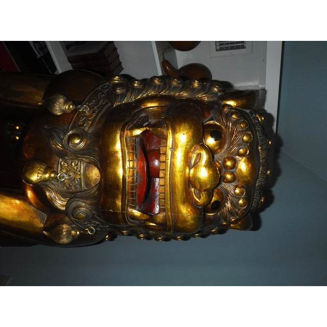 Asian 5 Feet Tall Hand Carved Wooden Foo Dogs - Pair For Sale - Image 3 of 8
