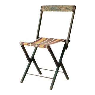 Vintage Striped Camp Chair For Sale