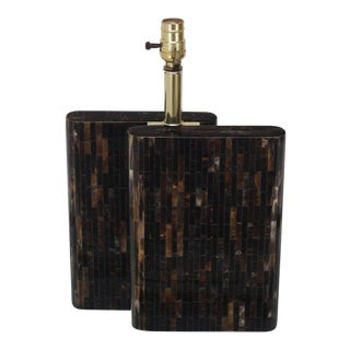 Tessellated Dark Bone Tile Table Lamp For Sale