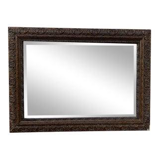 Vintage Beveled Mirror in Carved Wood Frame For Sale