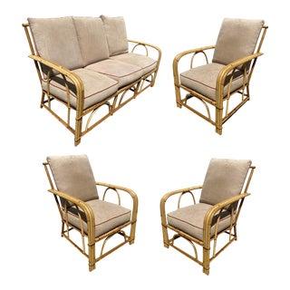1940s Vintage Heywood Wakefield Rattan Sofa Livingroom Set - 4 Pieces For Sale