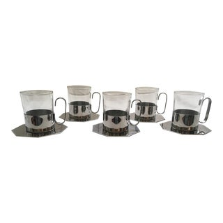 Mid-Century Stainless Steel & Glass Coffee Mugs With Coasters - Set of 5 For Sale