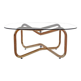 Brass and Chrome Atomic Coffee Table For Sale