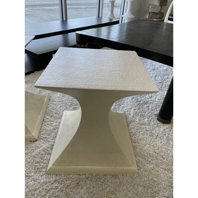 Mid-Century Modern 1970s Linen Wrapped Side Tables - a Pair For Sale - Image 3 of 8