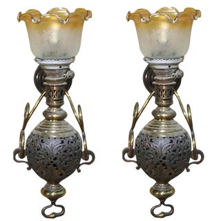 Large Colonial Style Hurricane Wall Lamp, Pair For Sale
