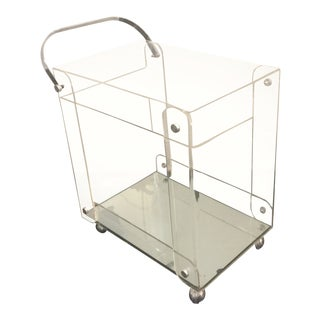 Modern Chrome and Lucite Bar/Tea Cart