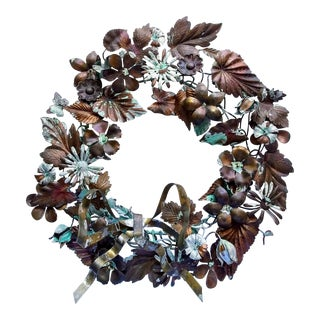 "Vintage 1970s Choses Dresden Brass Patinated Wreath- 12"" For Sale"