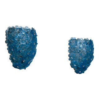 Pair of Barovier & Toso Blue Glass Flower Wall Lamps for Murano, 1950s For Sale