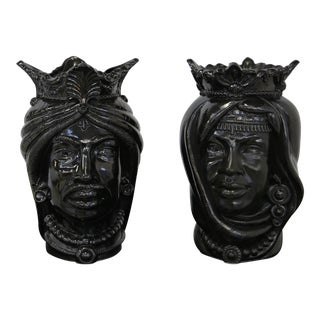 Sicilian Ceramic Mori Revisited in a Modern Style - a Pair For Sale
