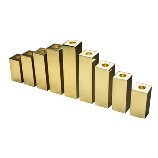 Cityscape Brass Menorah Candlesticks - Set of 9 For Sale