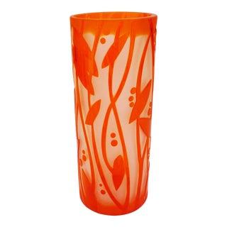 1930s Orange Art Déco Etched Glass Vase For Sale
