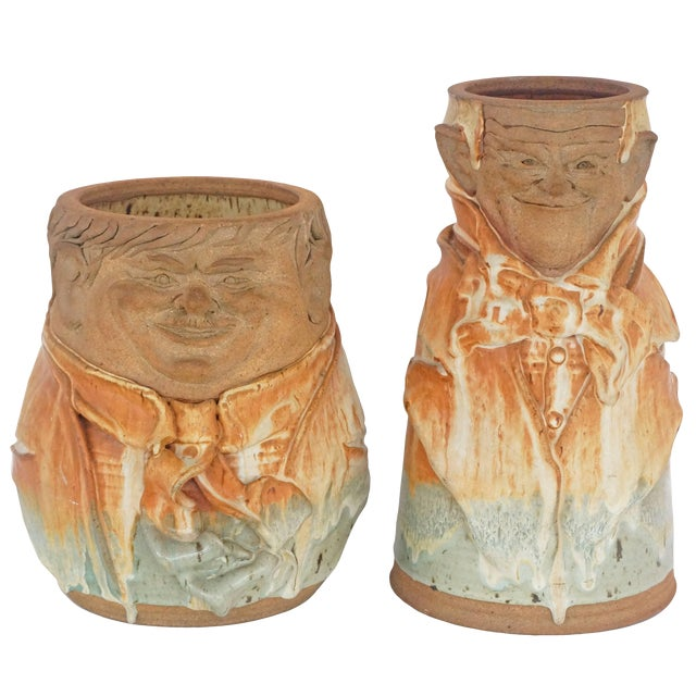 "Artisan Earthen-Ware ""Laurel & Hardy"" Vases by Reese 1974 - Set of 2 For Sale"