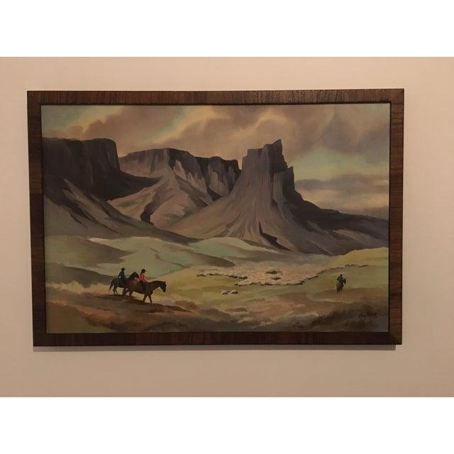 Vintage Cowboy Landscape Painting