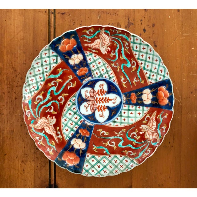 Hand-Painted Imari Plate With Phoenix & Floral Design For Sale - Image 5 of 5