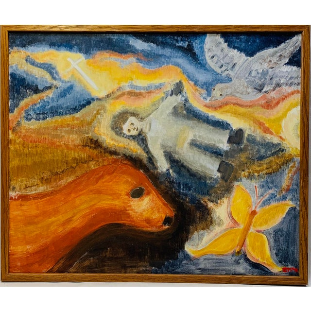 Canvas Late 20th Century Allegorical Religious Themed Painting For Sale - Image 7 of 7