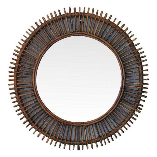 DESIGN FRERES The 'Oculus' Round Rattan Mirror For Sale - Image 4 of 4