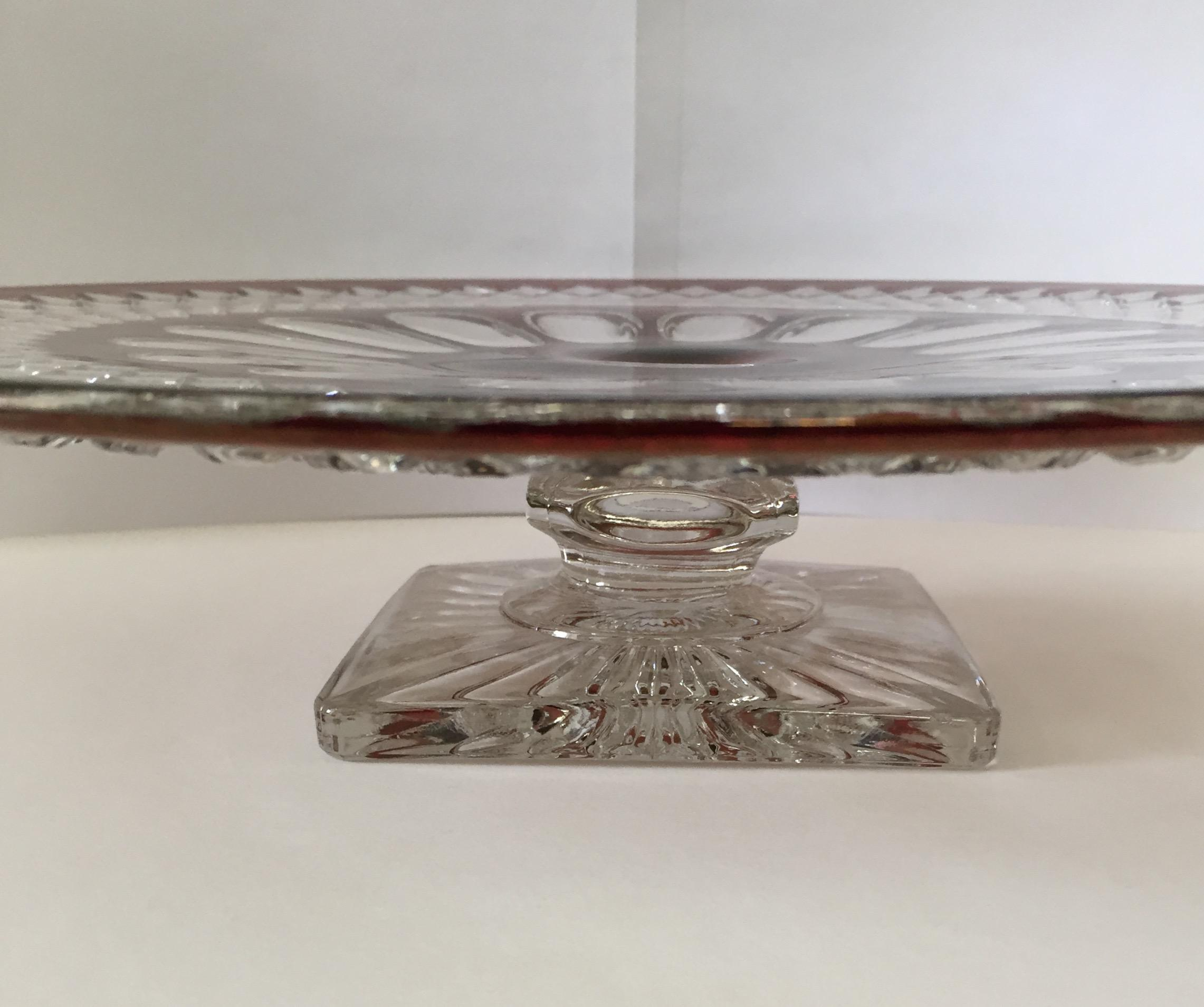 Westmoreland Wakefield Red U0026 Clear Glass Cake Stand   Image 3 ...