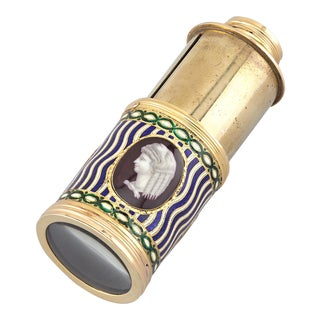 Single-Drawer Gold and Enamel Telescope For Sale