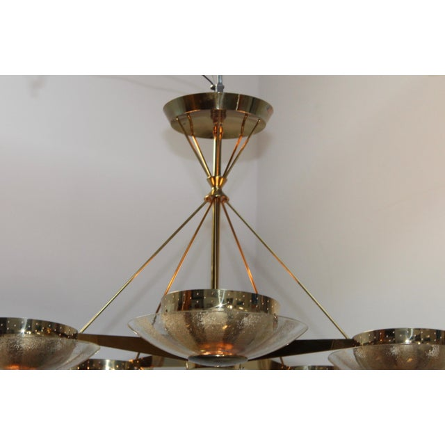 Gerald Thurston for Lightolier Brass and Glass Chandelier For Sale - Image 11 of 13