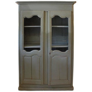 Late 18th Century Vintage Greige Wired Armoire For Sale