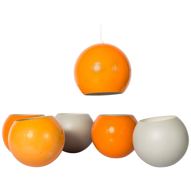 Abstract Verner Panton Orange & White Pendant Shades - Set of 6 For Sale - Image 3 of 4