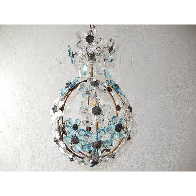 French Aqua Blue Flower Ball Crystal Prisms Maison Baguès Style Chandelier For Sale - Image 6 of 11