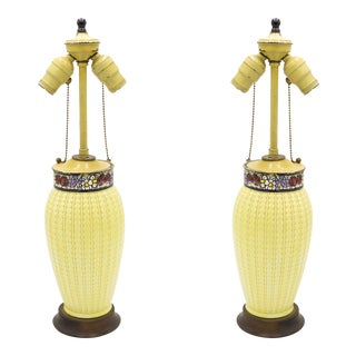American Mission Yellow Porcelain Table Lamps For Sale