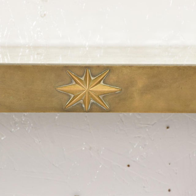 Mediterranean Arturo Pani Mid-Century Mexican Modernist Star Brass Wall Console Table For Sale - Image 3 of 10