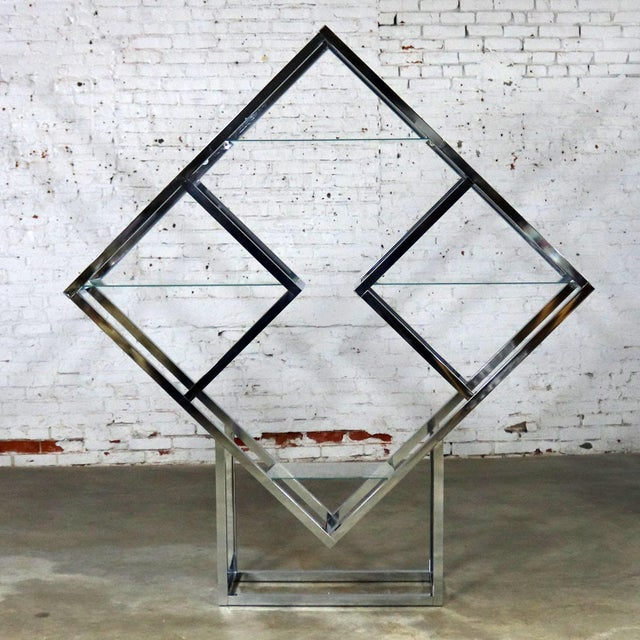 Modernist Geometric Diamond Shaped Chrome Étagère Attributed to Milo Baughman For Sale - Image 11 of 11