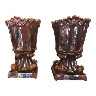 Early 20th Century American Glazed Antique Garden Urns- A Pair For Sale