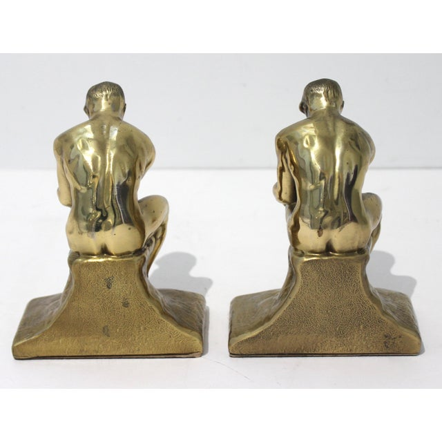 Mid-Century Modern Mid-Century Modern Rodin Thinker Style Bookends Book Ends - a Pair For Sale - Image 3 of 11