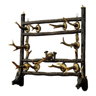 Wooden Carved Coat Rack With Antler Carvings Ca. 1900 For Sale