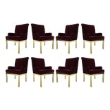 Image of Set of Eight Milo Baughman Style Velvet and Brass Dining Chairs For Sale
