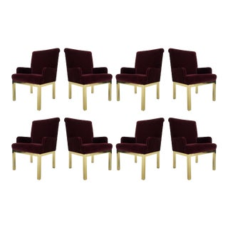 Set of Eight Milo Baughman Style Velvet and Brass Dining Chairs For Sale