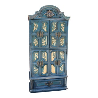 Hand Painted Dark Teal Armoire