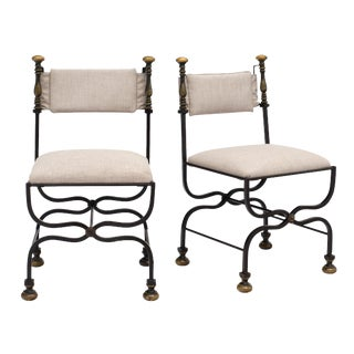 French Antique Forged Iron Side Chairs - a Pair For Sale