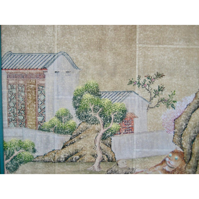 19th Century Chinese Hand Painted Wallpaper Panel, Framed For Sale - Image 4 of 13