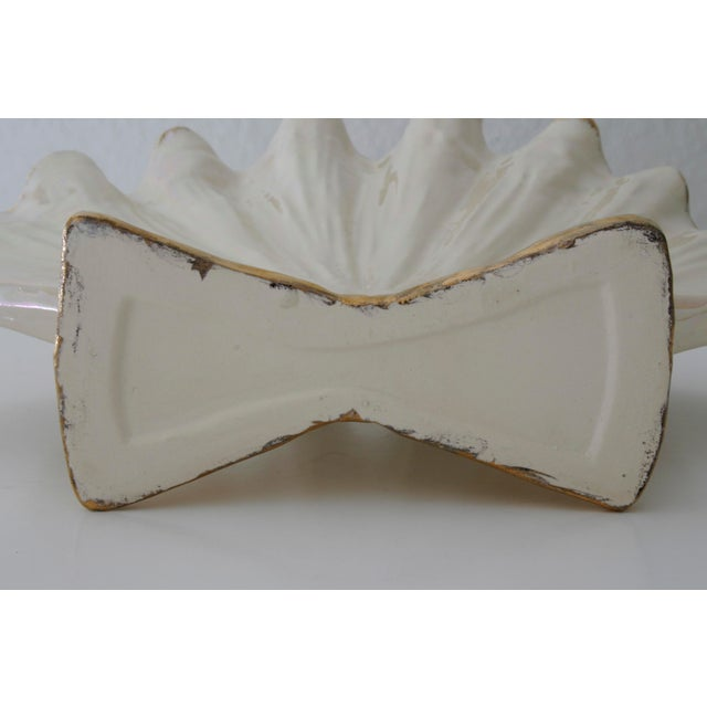 Ceramic Pearlescent Ivory and Gold Shell Shaped Vase For Sale - Image 7 of 8