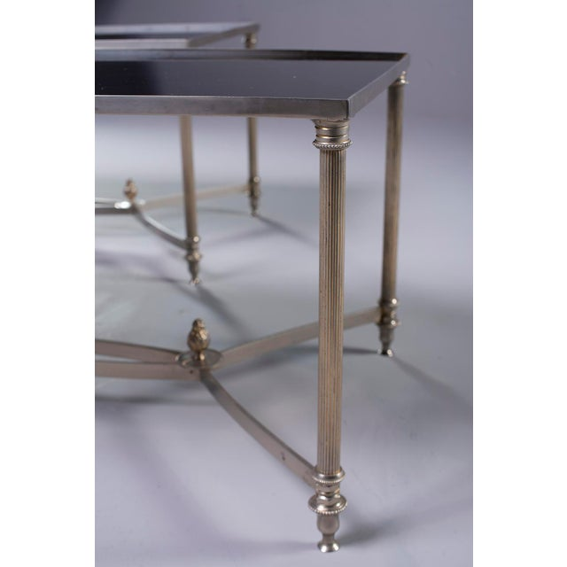 Pair French Black Glass Cocktail Tables For Sale - Image 10 of 11